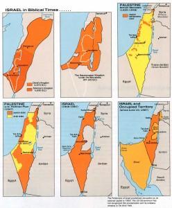 Obr. 2: Historický vývoj území Izraele: biblické období (1) Davidovo království 970 př. n. l.; Šalamounovo království 930 př. n. l., (2) Hasmoneovské království 167 – 142 př. n. l., (3) Britský mandát Palestina 1920 – 1948, (4) Plán OSN na rozdělení britského mandátu Palestina v roce 1947, (5) Izrael v letech 1949 – 1967, (6) Izrael a okupované území po roce 1967 (zdroj: http://www.lib.utexas.edu/maps/historical/israel_hist_1973.jpg).