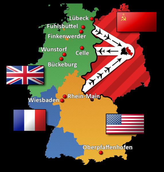 Obr. 2: Rozdělení Německa a Berlína po 2. světové válce mezi 4 mocnosti (USA, VB, Francie, SSSR) a znázornění leteckého mostu během blokády Západního Berlína v letech 1948 – 1949. Zdroj: http://en.wikipedia.org/wiki/Berlin_Blockade