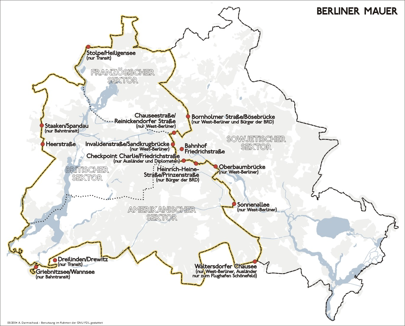 Obr. 5: Berlínská zeď s vyznačenými přechody podle občanství a účelu. Zdroj: http://commons.wikimedia.org/wiki/File:Karte_berliner_mauer_de.jpg