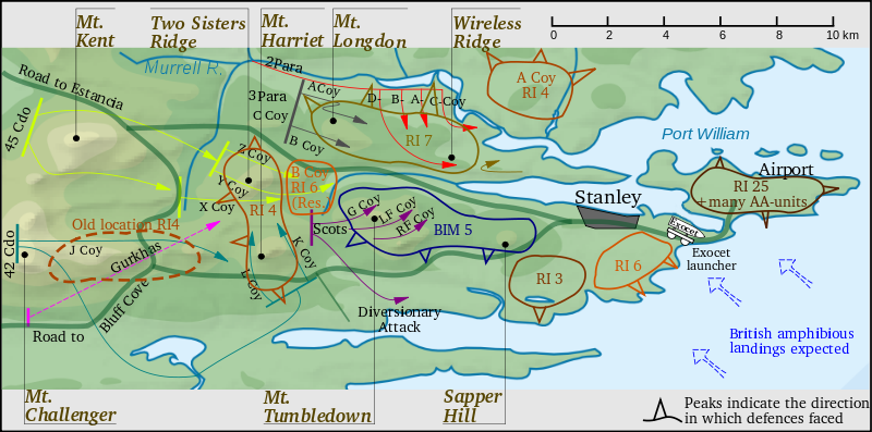 Obr. 3: Postup obklíčení hlavního města Port Stanley. Zdroj: wikipedia.org