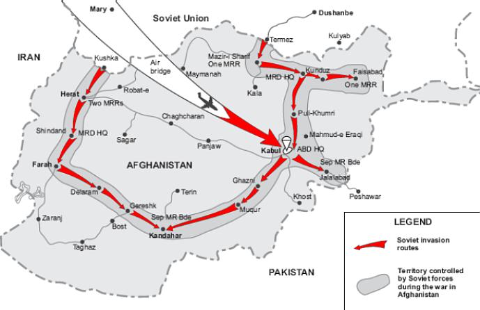 Obr. 1: Sovětská invaze v Afghánistánu (zdroj: http://news.bbc.co.uk).