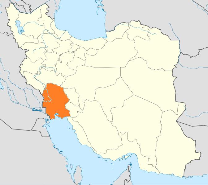 Obr. 1: Postavení provincie Chúzistán v rámci Íránu (zdroj: http://en.wikipedia.org).