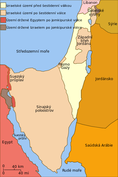 Obr. 3: Vývoj izraelského území po šestidenní a jomkippurské válce. (zdroj: http://cs.wikipedia.org).