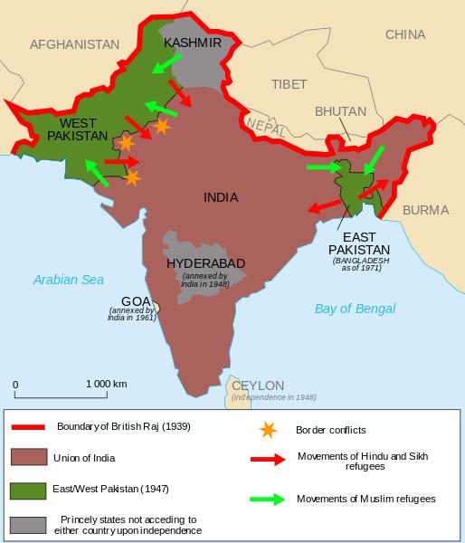 Obr. 2: Sporná území v oblasti Kašmíru nárokovaná Indií, Pákistánem a Čínou (zdroj: http://en.wikipedia.org).