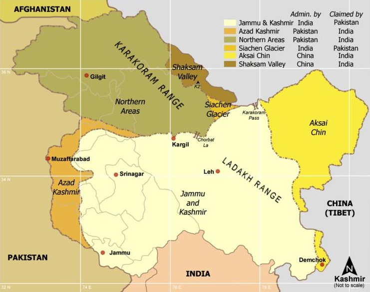 Obr. 1: Radcliffova demarkační linie mezi Indií a Pákistánem v roce 1947 a sporné území Kašmíru (zdroj: http://en.wikipedia.org).