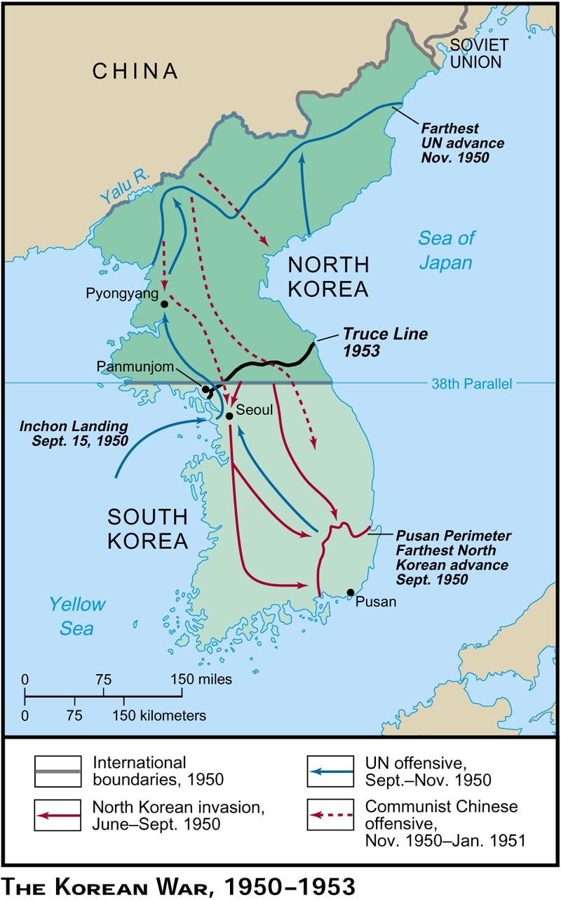Obr. 3: Jednotlivé etapy Korejské války.