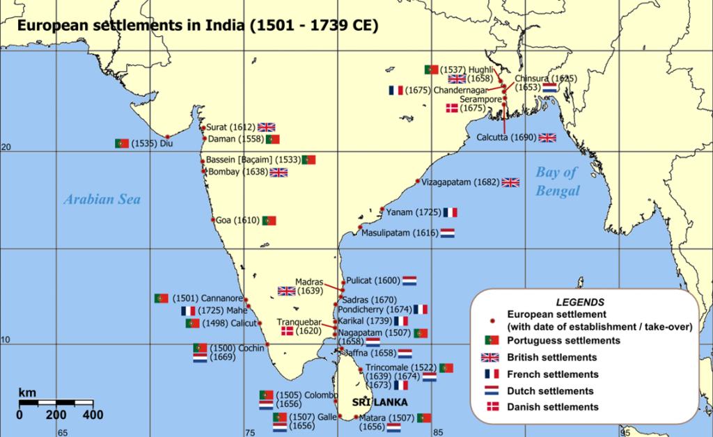 Indie: evropské obchodní stanice