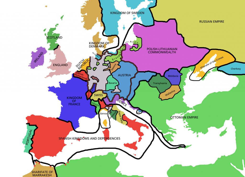 Politická mapa Evropy (1648)